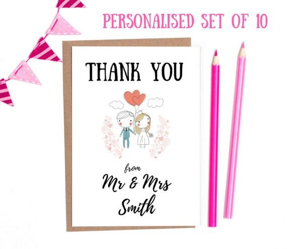 Personalisierte Hochzeit Danke Karten Packung Von 10 Danke Etsy
