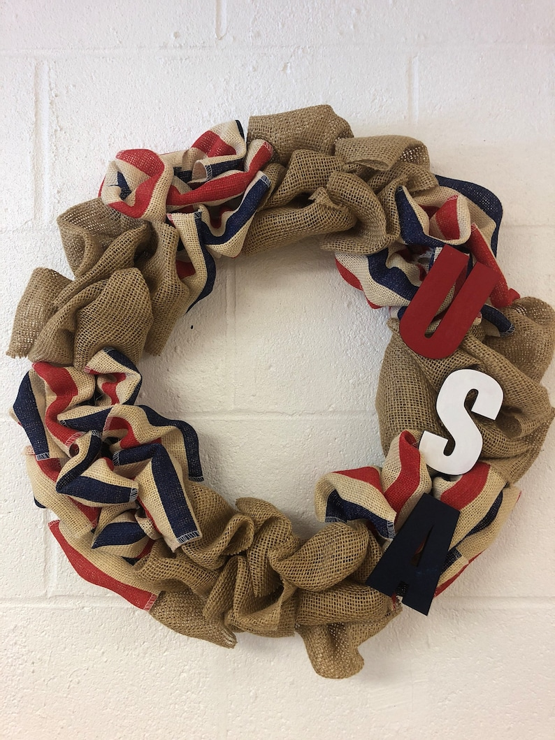 American Burlap Wreath USA House Decor Home