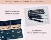 Ultimate Lot of 50 Lash Adhesive Eyeliner Sets Applicators Lazzy Bonder For Easy Mess Free Application Wholesale Vendor Ready To Ship