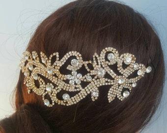 Bridal Wedding Gold Rhinestone Applique Bling Headband Hair Piece Jewelry Crystal Fascinator Ready to Ship