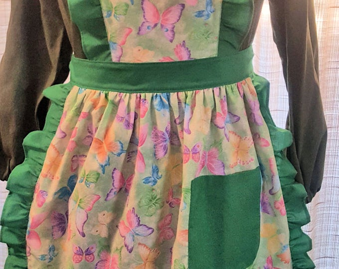 Featured listing image: Apron - with bib - Green/Green Butterflies