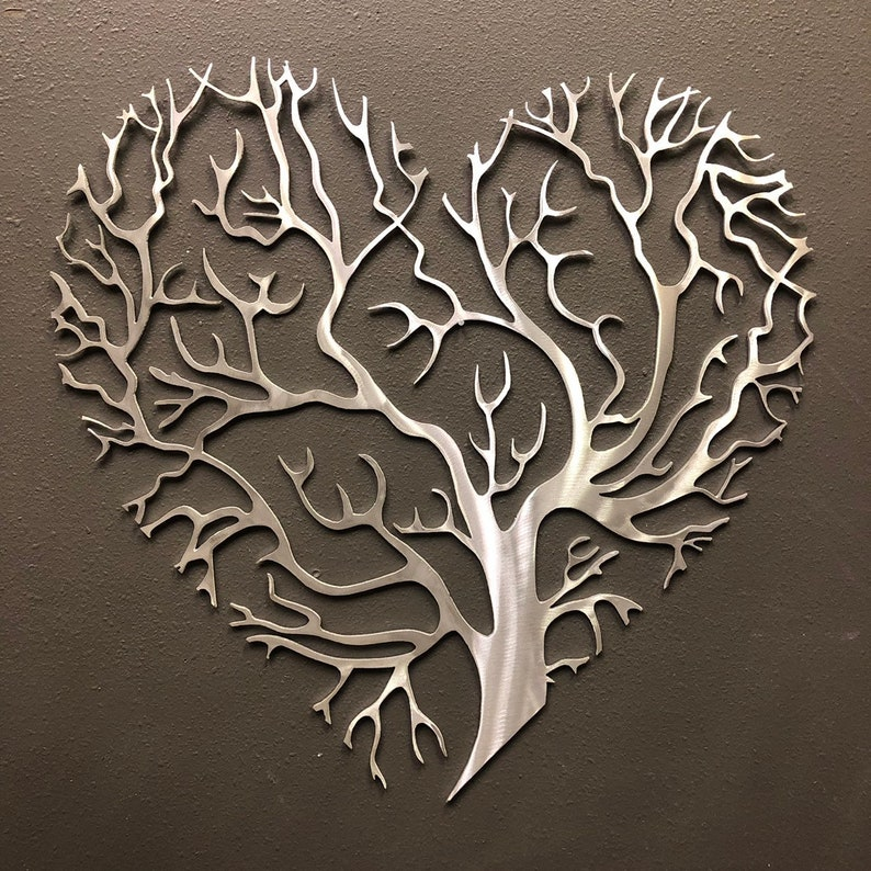 Tree of Life Heart  Metal Wall Art Skilwerx 18 x 18 Nature