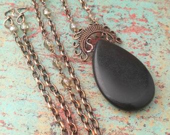 Lyonesse Pendant, Black Stone, Copper Wire Wrapped Pendant, Teardrop Pendant, Handwoven Copper Pendant, Door 44 Jewelry, Made in Colorado