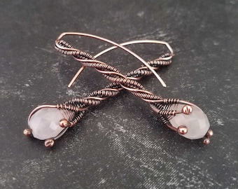 Handmade Copper Threader Earrings with Faceted Rose Quartz Gemstone Drops from Door 44 Studios