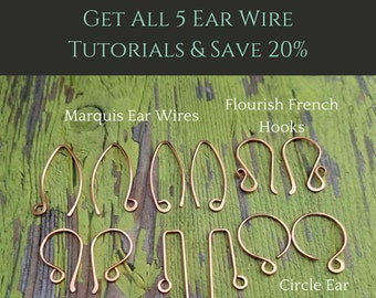 Jewelry Tutorial Bundle: Learn to make your own custom earring findings in 5 popular shapes. Includes 5 printable PDF digital download files