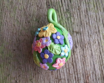Polymer Clay Floral Egg Pendant