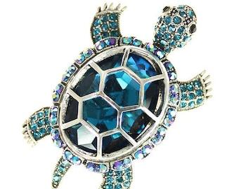 Blue Turtle Brooch, Rhinestone Iridescent Blue Turtle Broach, Turtle Jewelry Component, Broach, DIY Craft SupplyEmbellishment