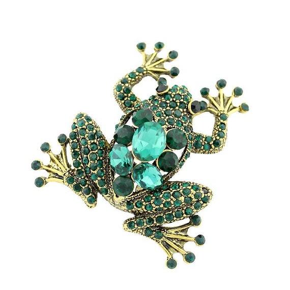 Cristal Verde Esmeralda Floral Broche