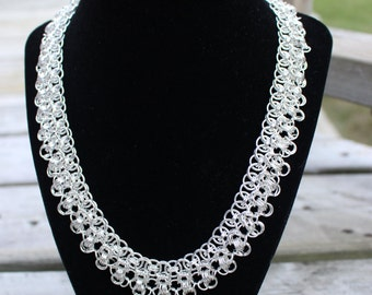 Rondo a la Byzantine Chainmaille Necklace, Silver Plated Chainmaille Necklace, Nickel and Lead Free