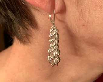 Full Persian Graduated Dangle Earrings, Silver Plated Chainmaille Earrings, Nickel and Lead Free