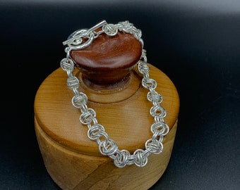 Barrel Weave Bracelet, Silver Plated Chainmaille Bracelet, Nickel and Lead Free