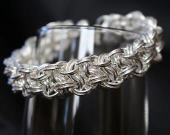 Basketweave Chainmaille Bracelet, Vipera Berus Chainmaille Bracelet, Silver Plated Chainmaille Bracelet, Nickel and Lead Free