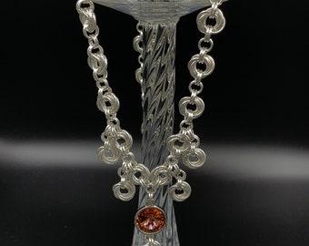 Swarovski Rivoli Chainmaille Necklace, Silver Plated Chainmaille Necklace, Swarovski Crystals, Nickel and Lead Free