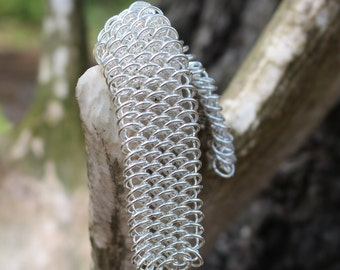 Dragonscale Chainmaille Bracelet, Silver Plated Chainmaille Bracelet, Nickel and Lead Free