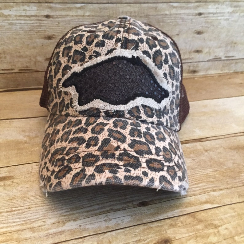 b6ef7f12766 Leopard Razorback Trucker Hat Cheetah Print Hat Game Day