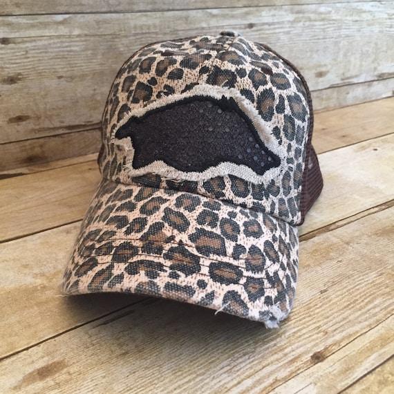 Leopard Razorback Trucker Hat Cheetah Print Hat Game Day  475be524aa7