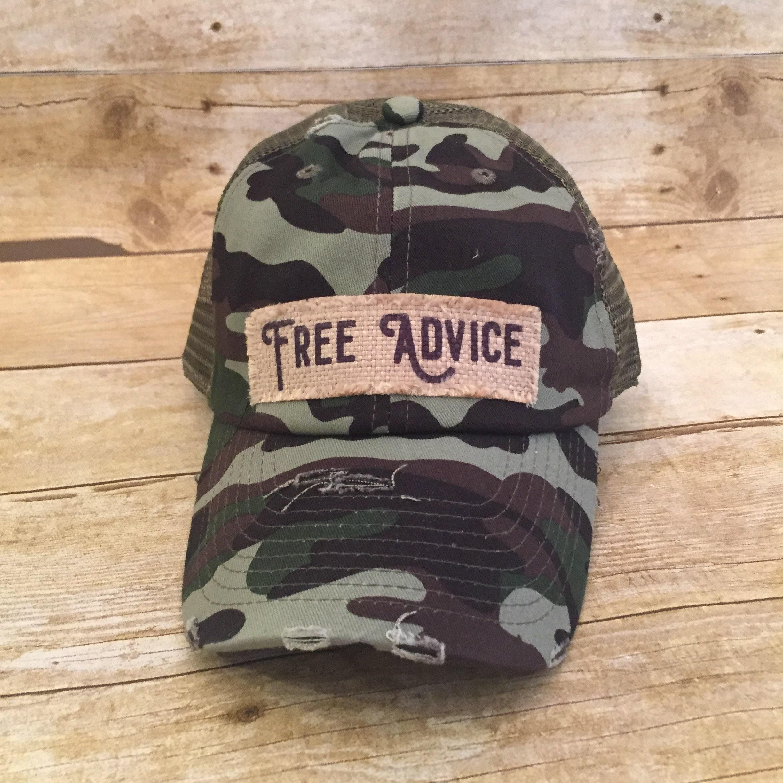6ce5977dfca16e Camo Trucker Hat Camouflage Patch Hat Free Advice Cap   Etsy