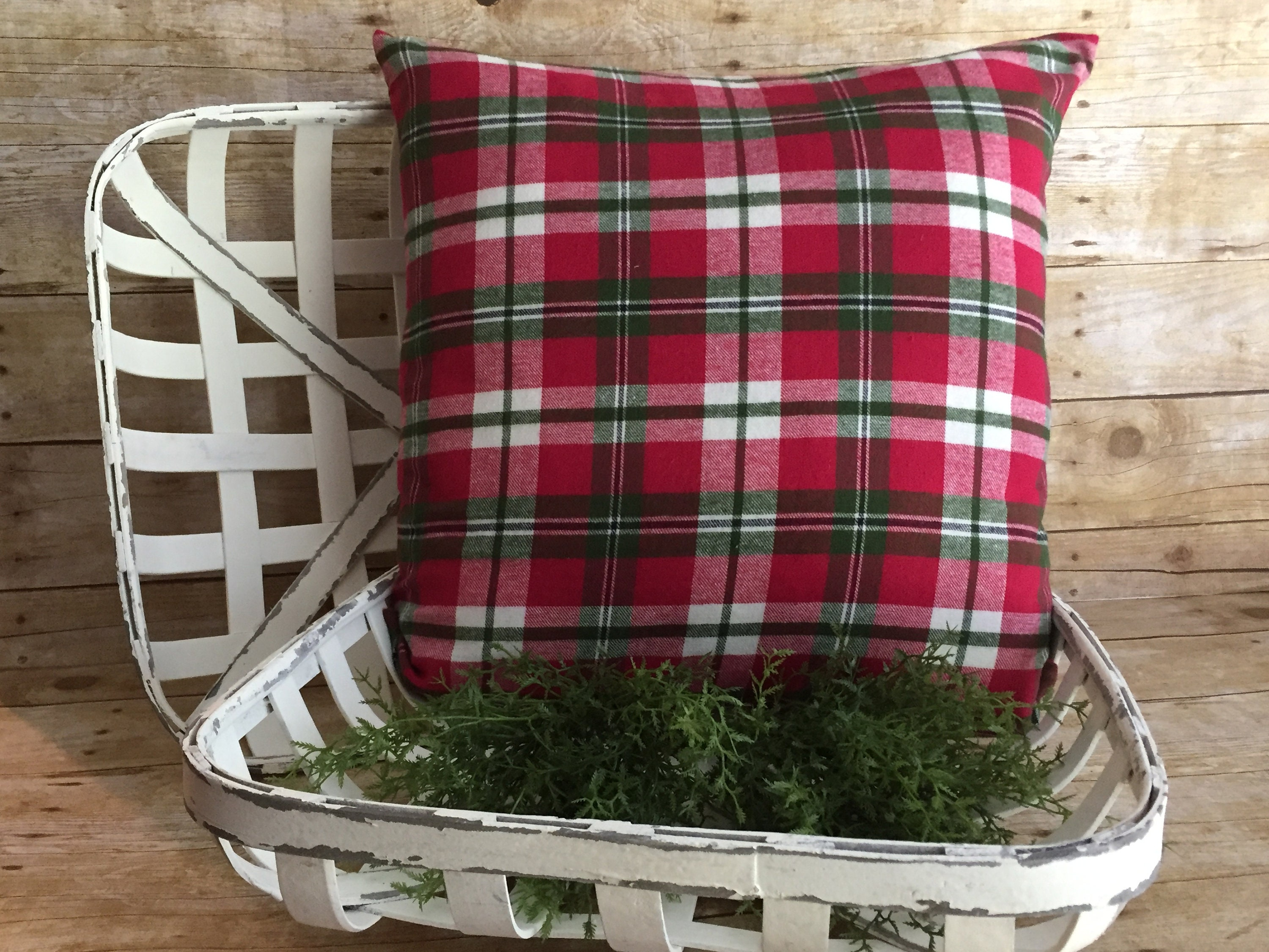 Christmas Pillow Cover Plaid Flannel