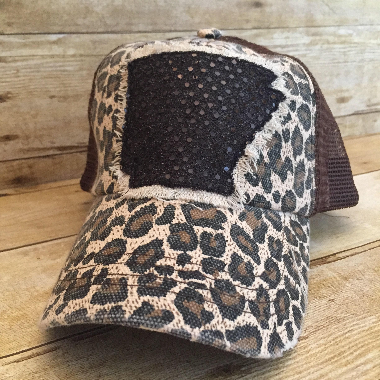 Leopard Print Arkansas Trucker Hat Cheetah Print Arkansas  7e34f91b01a