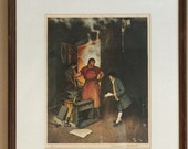 Norman Rockwell Lithograph - Blacksmith Shop - Signed -1973 - 33 of 200 - Professionally Framed - Industrial - Anvil - Steampunk - Artisan