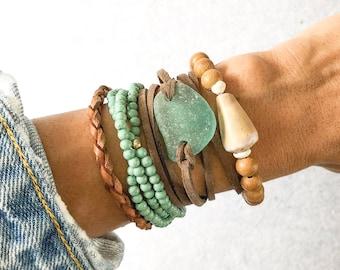 Blue Sea Glass Leather Wrap Bracelet, Boho Leather Wrap
