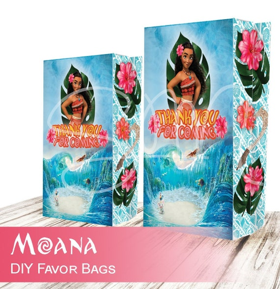 NEW Moana Birthday Favor Gift Bags Digital File Invitation