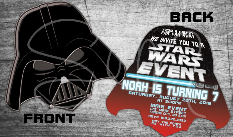 New Evite Star Wars Custom Birthday Invitations Darth Vader