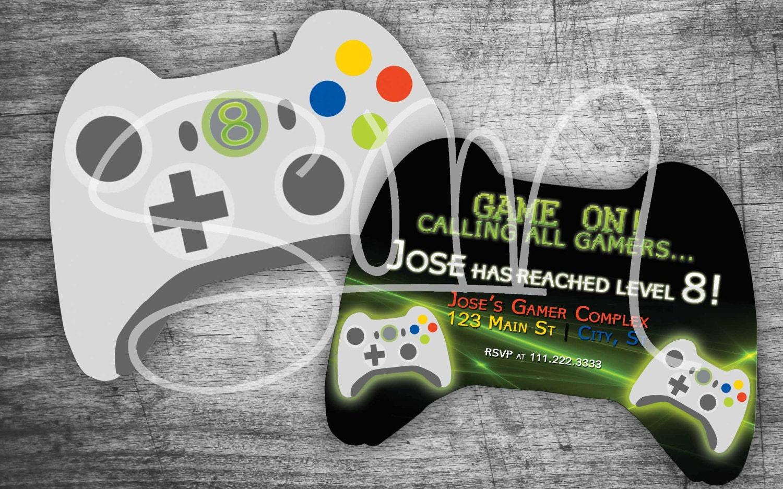 NEW Evite Xbox Controller Shaped Custom Gamer Birthday