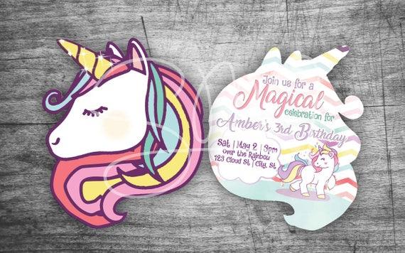 NEW Evite Unicorn Emoji Rainbow Birthday Custom Invitations