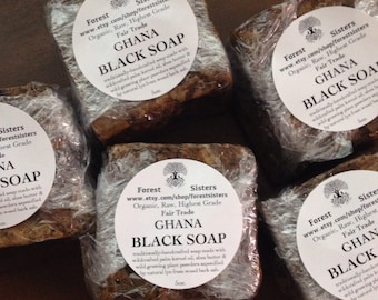 Real Ghana Black Soap (FairTrade, Traditionally Handcrafted by Women Artisans, Organic, Wildcrafted Ingredients, Vegan, Raw, Highest Grade)