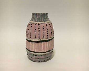 Pink and grey ceramic bottle