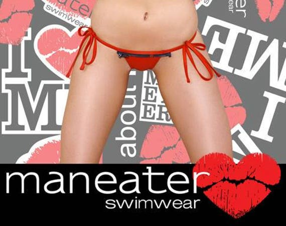 15%OFF***MISSMANEATER #REDlight thin bind tie side THONG boutique bikini pant