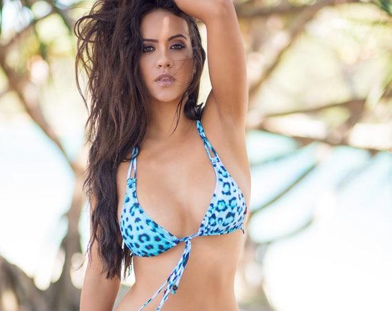15%OFFSALE *** MissManeater WILD thin halter sliding boutique bikini top *** MICRO coverage!