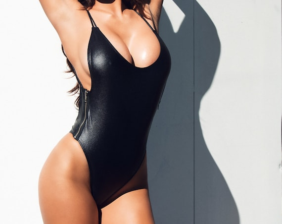 15%OFF SALE *** MissManeater heavyMETAL zipper side one piece swimsuit *** BRAZILIAN cut!