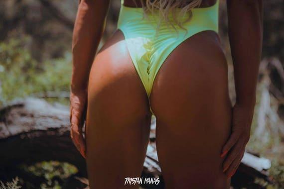 15%OFF***MISSMANEATER #candy deepVfront cheeky scrunch bum high cut one piece swimsuit***BRAZILIAN cut!