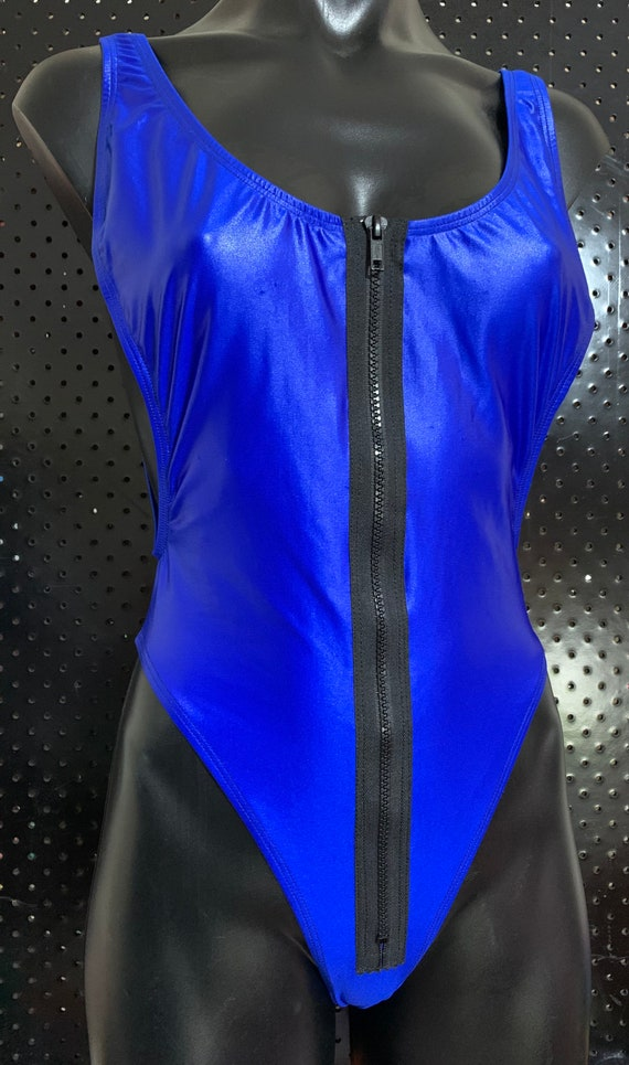 ONEofaKIND!!! ***MissManeater #electricBLUE zip front thong cut one piece designer swimsuit
