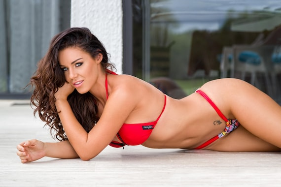 35%OFFSALE *** MissManeater REDLIGHT sliding halter boutique bikini top with zip trim detail  *** ADJUSTABLE coverage!