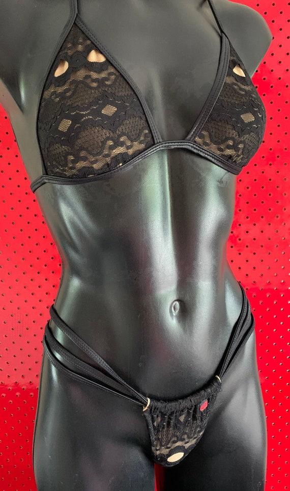 ONEofaKIND!!! ***MissManeater #BLACKlace thin band fixed tri top + super micro thin sliding strap THONGpant!  SUPERmicro bikini!