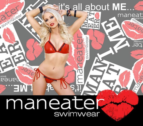 35%OFFSALE *** MissManeater REDLIGHT fixed triangle boutique bikini top with zip trim detail *** FIXED style!