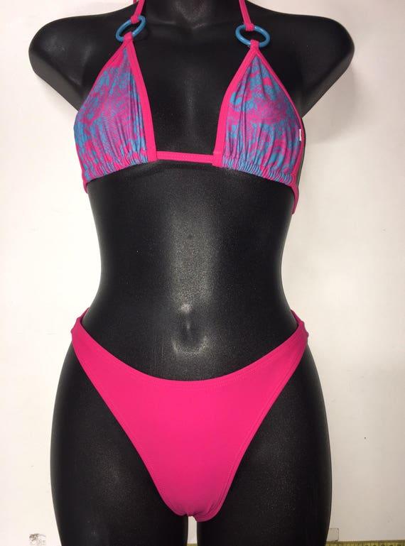 50% offSALE *** MissManeater TAINTEDLOVE ring top slide triangle bikini top + 80's hipster scrunch boutique bikini pant ***CHEEKY scrunch!