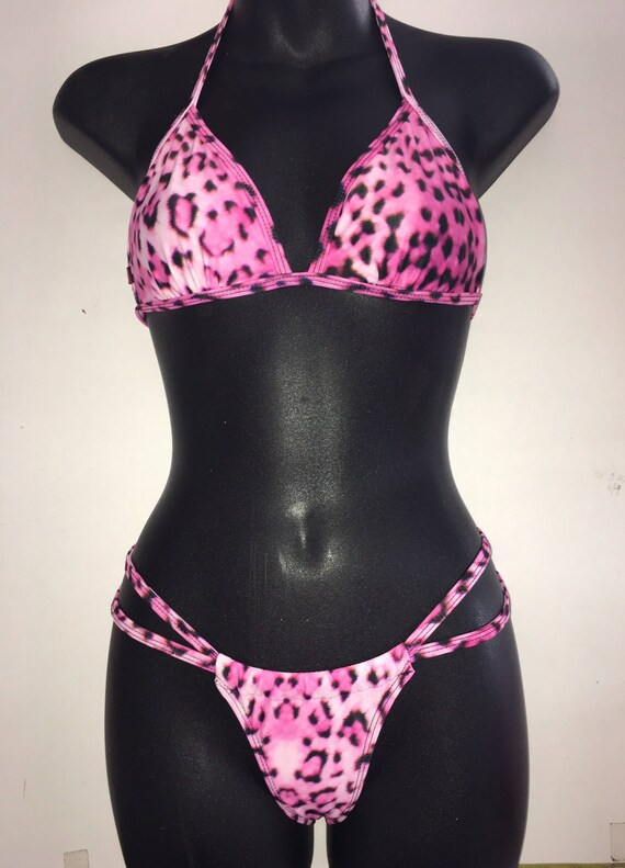 15%OFF***MISSMANEATER #wild fixed thin bind triangle top + sliding strap super low boutique bikini pant + THONG!