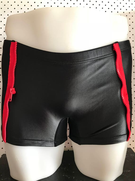 INTRODUCING our Mens euro swim truck brand: ROGUEswim ** BLACKlight swim short with RED zipper side panel detail