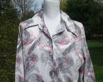 XL 70s Stairway To Heaven Collared Blouse Alex Colman