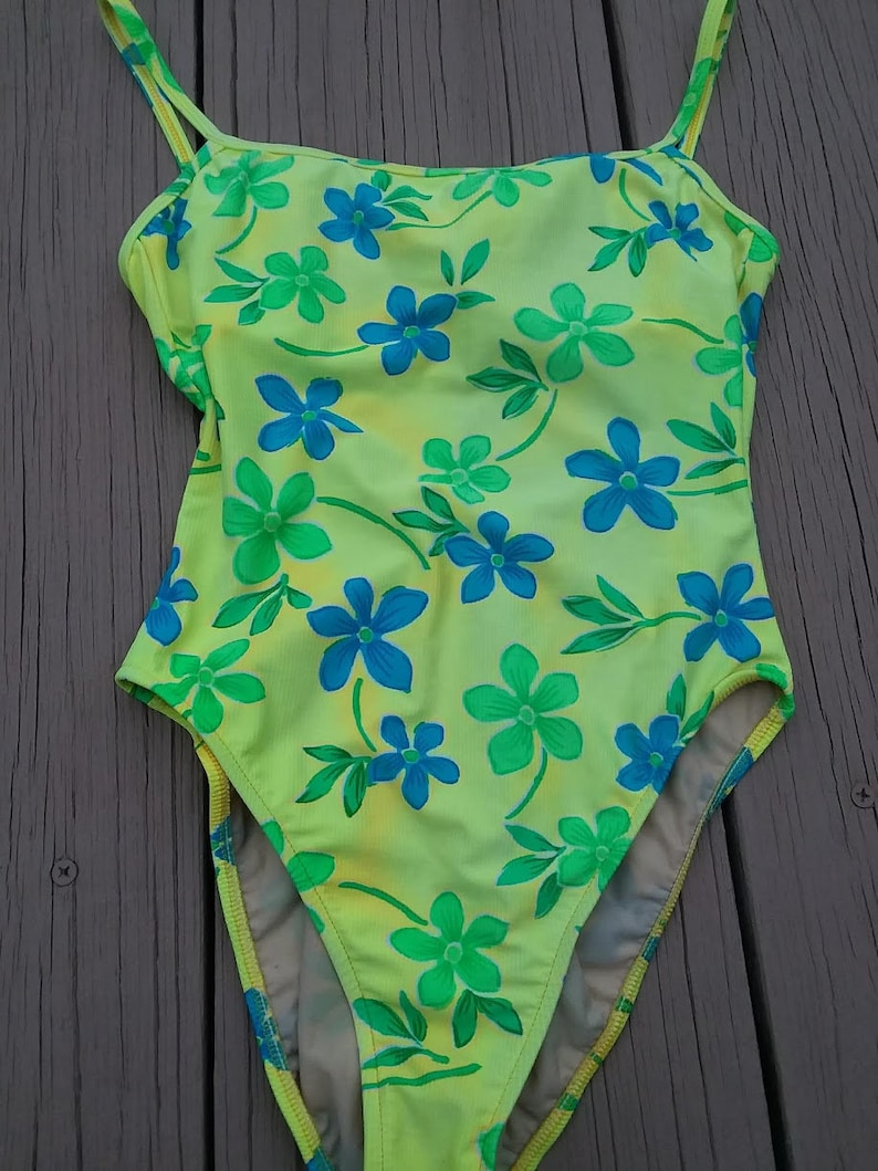 2bd186fff09 Vintage 90s High Cut One piece Swim Suit - Neon Green, Blue Flowers,  Ribbed, Low Cut Back - Cherokee - Built In Bra - Yellow Beach Vacation