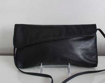 Vintage Juliette Black Leather Envelope Handbag