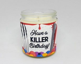 3.5oz. Horror Birthday Candle︱Have A Killer Birthday︱Horror Candle, Scary Movie Candle | Gifts for Her, Gifts for Him | Mix & Match Gift