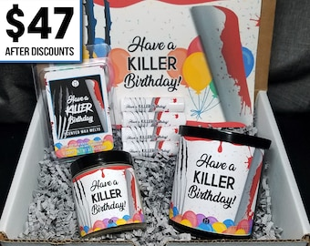 Birthday Gift Box︱9oz./3.5oz. Soy Candle, Wax Melt, Lip Balms, Greeting Card︱Horror Gift, Birthday Gift, Horror Bundle, Birthday Bundle