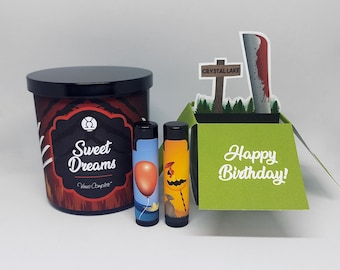 Candle, Greeting Card and Two Lip Balm Bundle︱9oz Soy Candle︱Horror | Mix & Match | Horror Greeting Card, Birthday, Anniversary, Gift Ideas