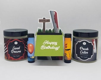 Two 3.5oz Soy Candles, 2 Lip Balms, Pop-Up Card︱Horror Bundle | Mix & Match | Horror Greeting Card, Birthday, Anniversary, Gift Ideas