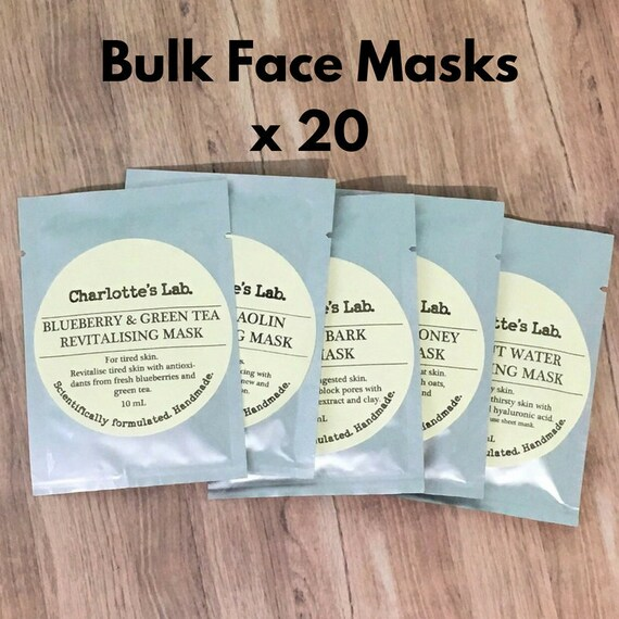 20 Wholesale Face Masks   20 bulk face masks   natural vegan cruelty free face masks Made in Australia by charlotte's lab